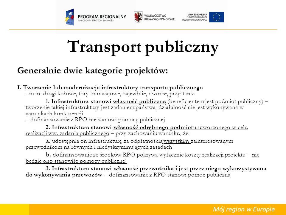 Mój region w Europie Transport publiczny Generalnie dwie kategorie projektów: I. Tworzenie lub modernizacja infrastruktury transportu publicznego - m.