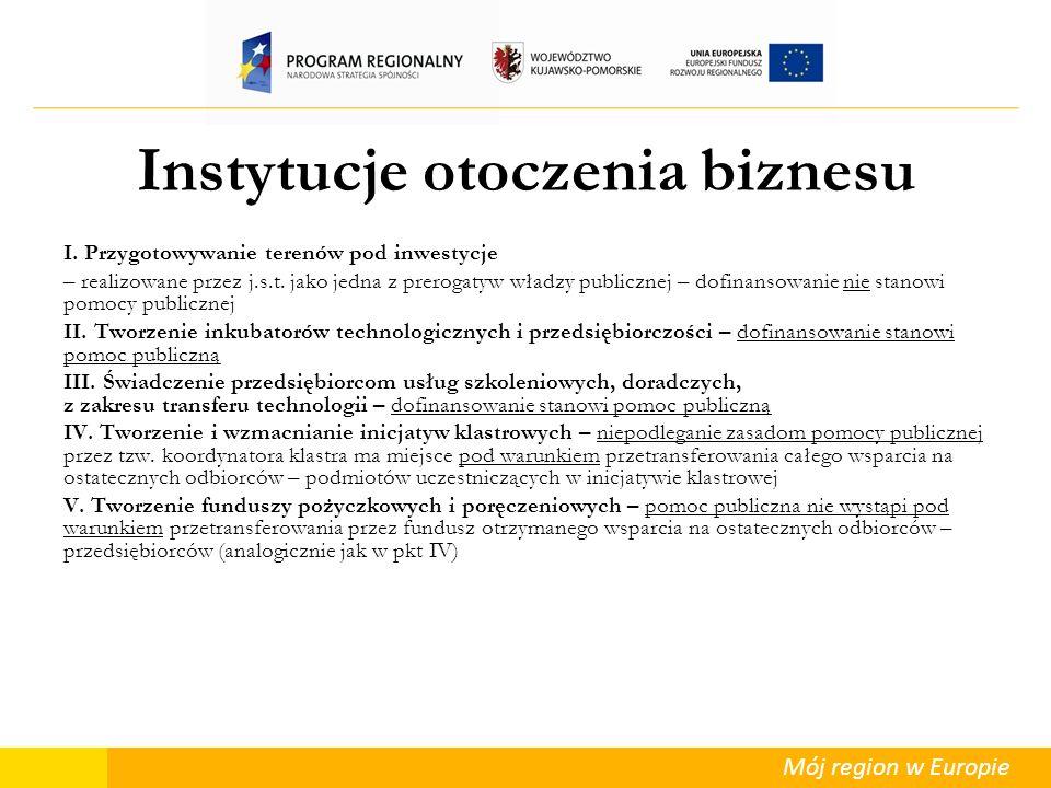 Mój region w Europie Instytucje otoczenia biznesu I. Przygotowywanie terenów pod inwestycje – realizowane przez j.s.t. jako jedna z prerogatyw władzy