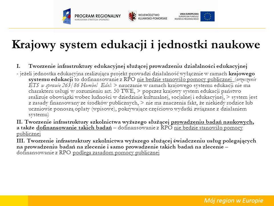 Mój region w Europie Krajowy system edukacji i jednostki naukowe I.Tworzenie infrastruktury edukacyjnej służącej prowadzeniu działalności edukacyjnej