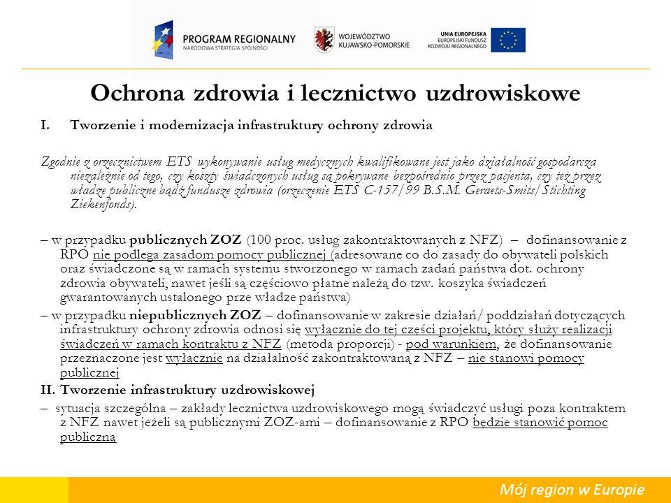 Mój region w Europie Ochrona zdrowia i lecznictwo uzdrowiskowe I.Tworzenie i modernizacja infrastruktury ochrony zdrowia Zgodnie z orzecznictwem ETS w