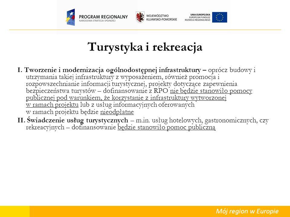 Mój region w Europie Turystyka i rekreacja I. Tworzenie i modernizacja ogólnodostępnej infrastruktury – oprócz budowy i utrzymania takiej infrastruktu