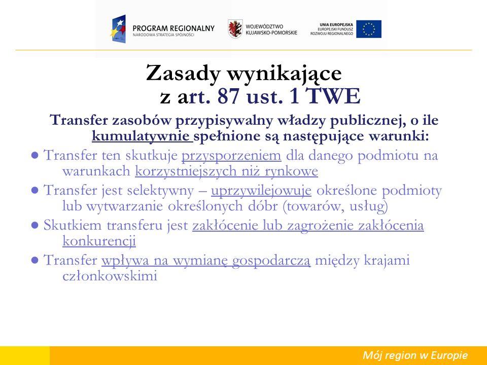 Mój region w Europie Warunki rynkowe Nadrzędnym celem przepisów wspólnotowych dotyczących pomocy publicznej jest ochrona konkurencji na Jednolitym Rynku Europejskim (JRE) Mechanizmy zapewniające warunki rynkowe (wyłączające co do zasady wystąpienie pomocy publicznej): otwarty/ bezwarunkowy przetarg Chodzi o tryb przetargu, który umożliwia udział KAŻDEGO zainteresowanego podmiotu Tryby, które nie zapewniają warunków rynkowych – nie wyłączają wystąpienia pomocy publicznej: np.
