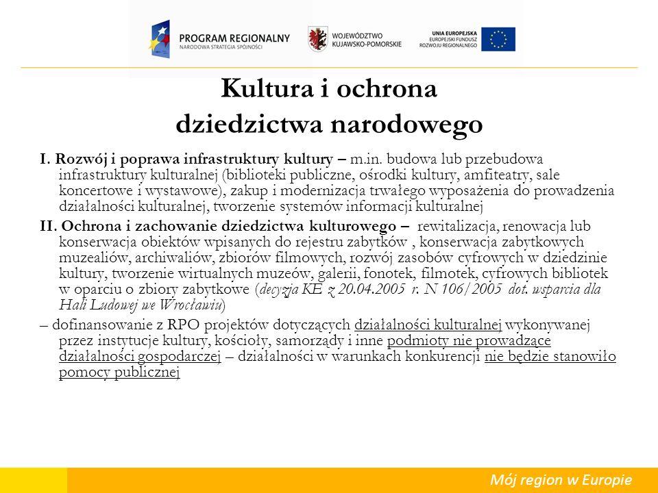 Mój region w Europie Kultura i ochrona dziedzictwa narodowego I. Rozwój i poprawa infrastruktury kultury – m.in. budowa lub przebudowa infrastruktury