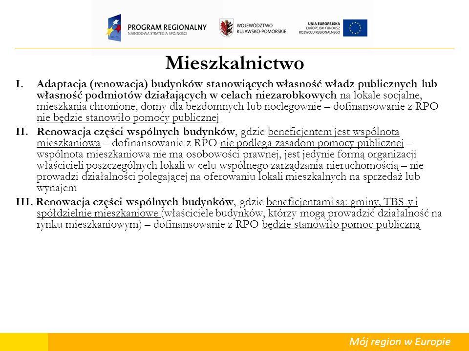 Mój region w Europie Mieszkalnictwo I.Adaptacja (renowacja) budynków stanowiących własność władz publicznych lub własność podmiotów działających w cel