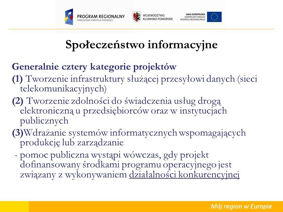 Mój region w Europie Społeczeństwo informacyjne Generalnie cztery kategorie projektów (1) Tworzenie infrastruktury służącej przesyłowi danych (sieci t