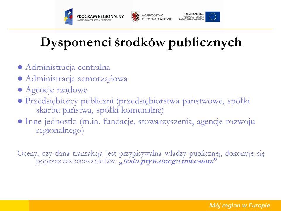 Mój region w Europie Dysponenci środków publicznych Administracja centralna Administracja samorządowa Agencje rządowe Przedsiębiorcy publiczni (przeds