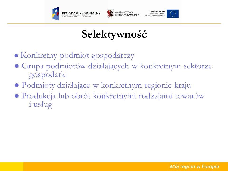 Mój region w Europie Selektywność Konkretny podmiot gospodarczy Grupa podmiotów działających w konkretnym sektorze gospodarki Podmioty działające w ko