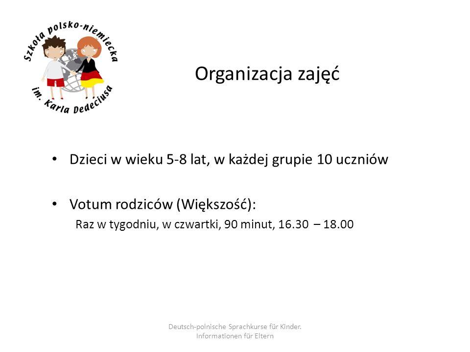 Organizacja zajęć Dzieci w wieku 5-8 lat, w każdej grupie 10 uczniów Votum rodziców (Większość): Raz w tygodniu, w czwartki, 90 minut, 16.30 – 18.00 D
