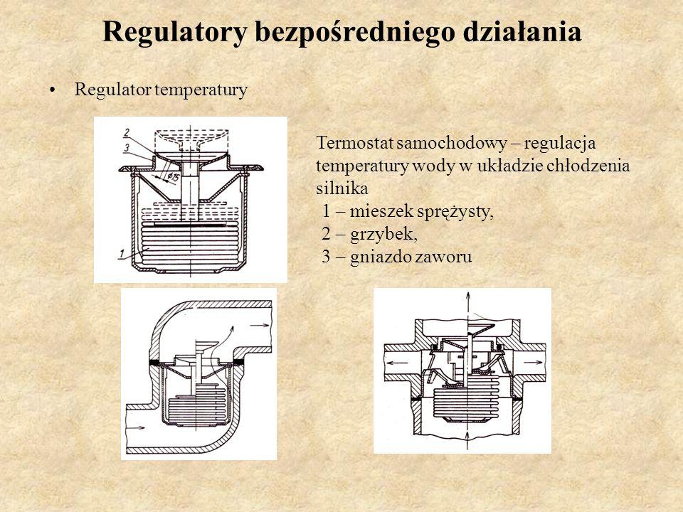 Regulatory bezpośredniego działania Regulator temperatury Termostat samochodowy – regulacja temperatury wody w układzie chłodzenia silnika 1 – mieszek