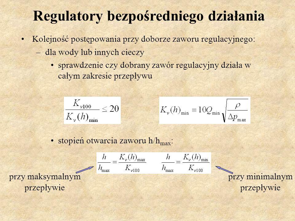Regulatory bezpośredniego działania Kolejność postępowania przy doborze zaworu regulacyjnego: –dla wody lub innych cieczy sprawdzenie czy dobrany zawó