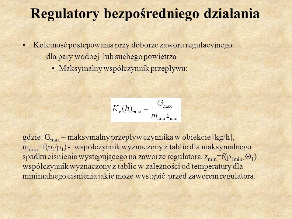 Regulatory bezpośredniego działania Kolejność postępowania przy doborze zaworu regulacyjnego: –dla pary wodnej lub suchego powietrza Maksymalny współc