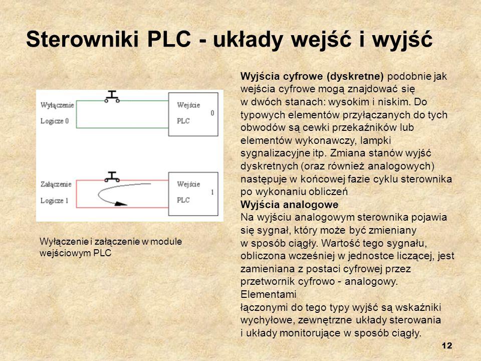 12 Sterowniki PLC - układy wejść i wyjść Wyłączenie i załączenie w module wejściowym PLC Wyjścia cyfrowe (dyskretne) podobnie jak wejścia cyfrowe mogą