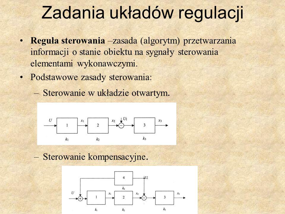 Zadania układów regulacji Reguła sterowania –zasada (algorytm) przetwarzania informacji o stanie obiektu na sygnały sterowania elementami wykonawczymi