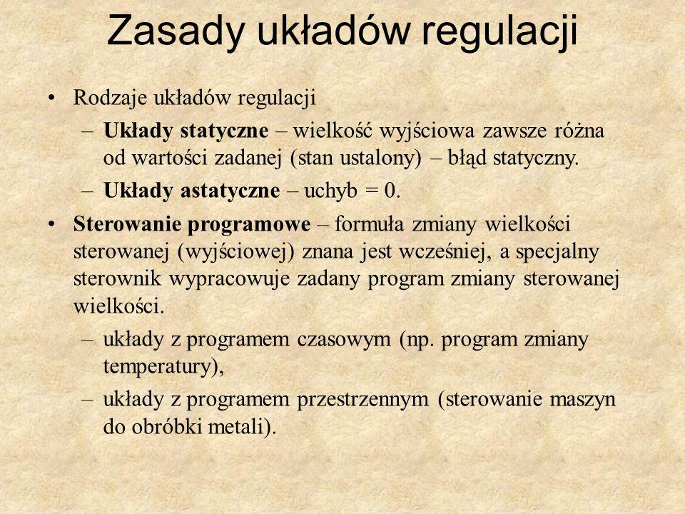 Zasady układów regulacji Rodzaje układów regulacji –Układy statyczne – wielkość wyjściowa zawsze różna od wartości zadanej (stan ustalony) – błąd stat