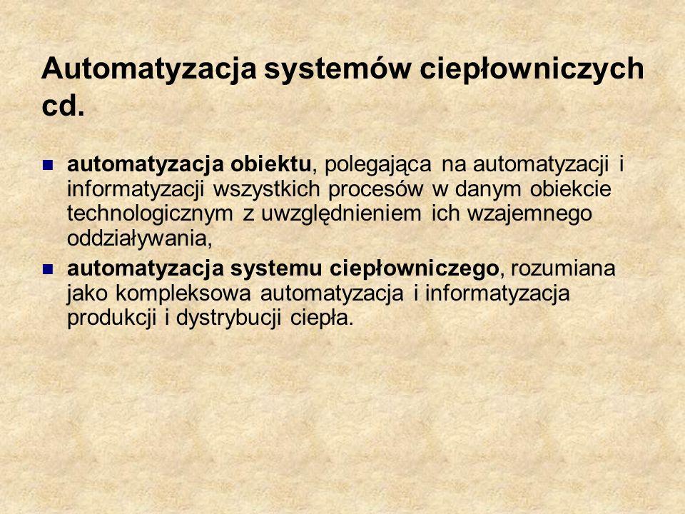 Automatyzacja systemów ciepłowniczych cd. automatyzacja obiektu, polegająca na automatyzacji i informatyzacji wszystkich procesów w danym obiekcie tec