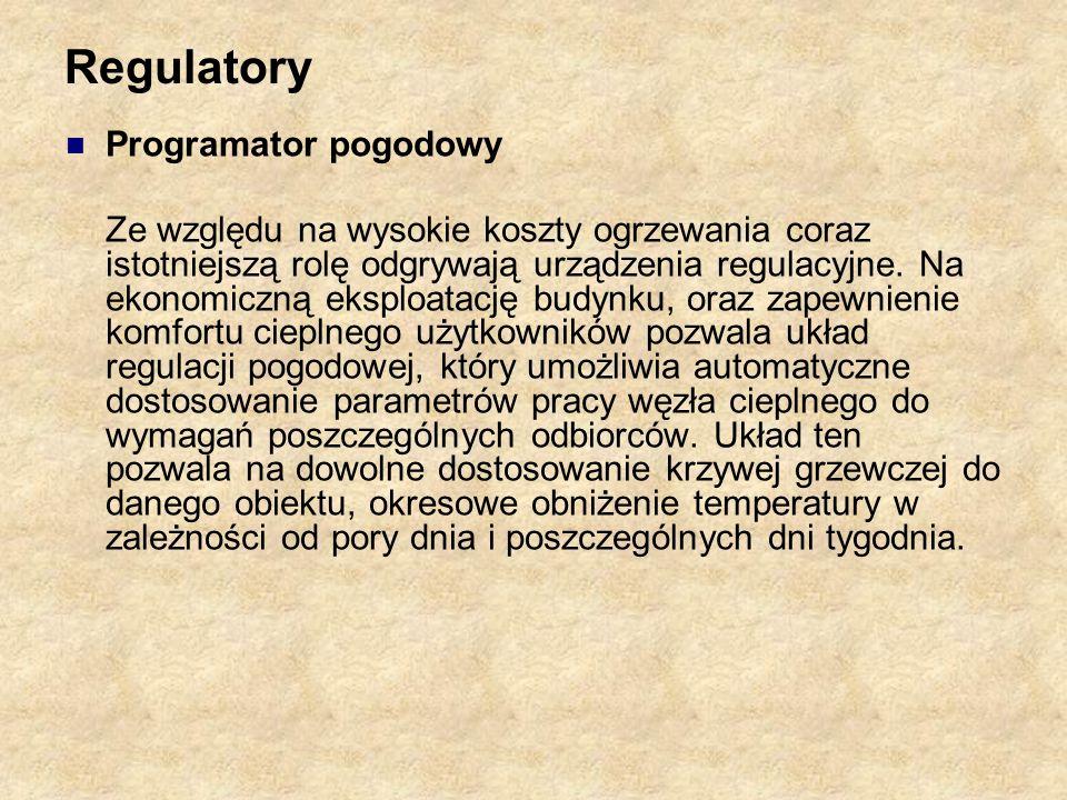 Regulatory Programator pogodowy Ze względu na wysokie koszty ogrzewania coraz istotniejszą rolę odgrywają urządzenia regulacyjne. Na ekonomiczną ekspl