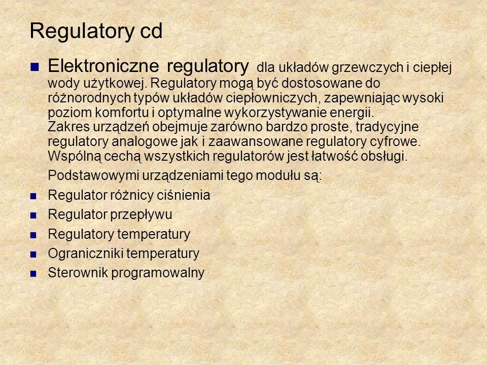 Regulatory cd Elektroniczne regulatory dla układów grzewczych i ciepłej wody użytkowej. Regulatory mogą być dostosowane do różnorodnych typów układów