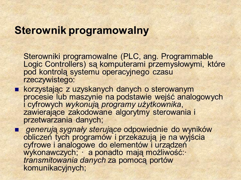 Sterownik programowalny Sterowniki programowalne (PLC, ang. Programmable Logic Controllers) są komputerami przemysłowymi, które pod kontrolą systemu o