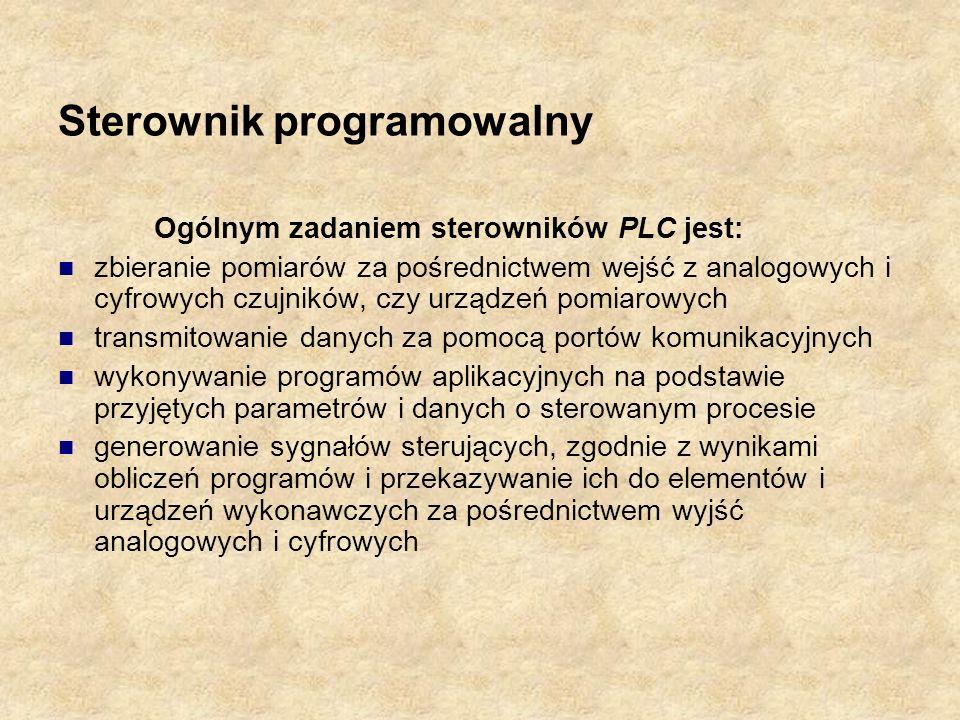Sterownik programowalny Ogólnym zadaniem sterowników PLC jest: zbieranie pomiarów za pośrednictwem wejść z analogowych i cyfrowych czujników, czy urzą