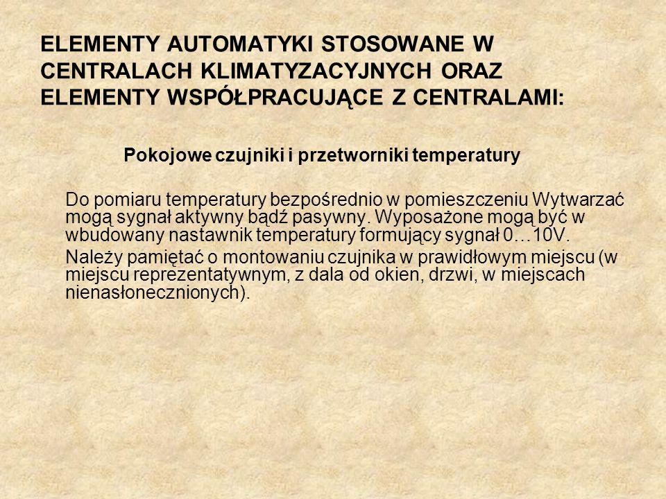 ELEMENTY AUTOMATYKI STOSOWANE W CENTRALACH KLIMATYZACYJNYCH ORAZ ELEMENTY WSPÓŁPRACUJĄCE Z CENTRALAMI: Pokojowe czujniki i przetworniki temperatury Do
