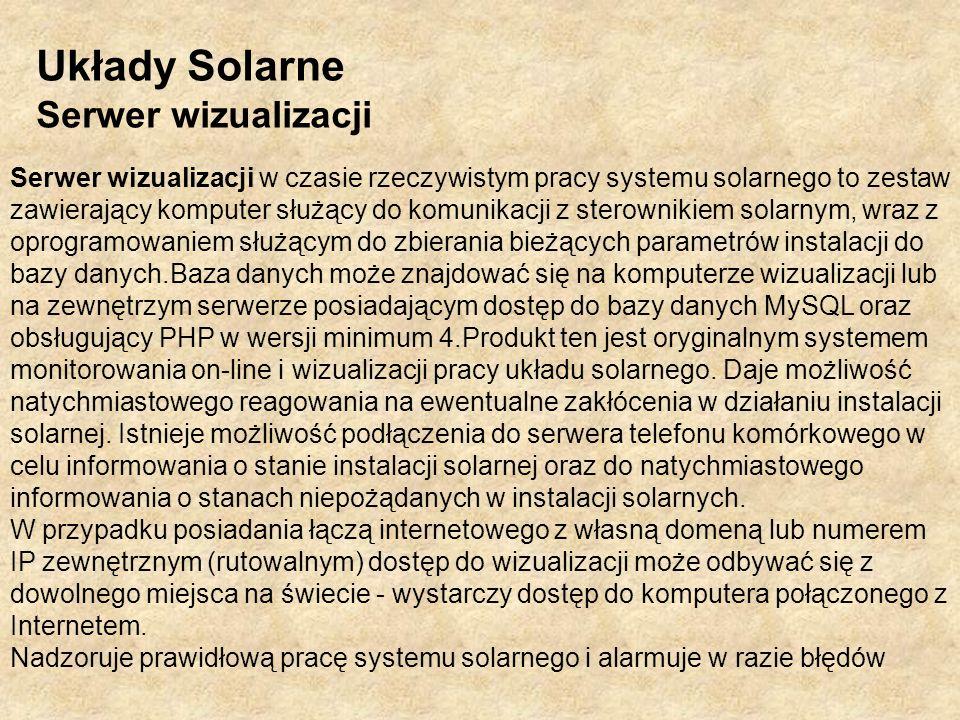 Układy Solarne Serwer wizualizacji Serwer wizualizacji w czasie rzeczywistym pracy systemu solarnego to zestaw zawierający komputer służący do komunik
