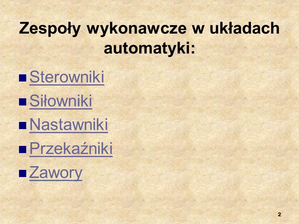 2 Zespoły wykonawcze w układach automatyki: Sterowniki Siłowniki Nastawniki Przekaźniki Zawory