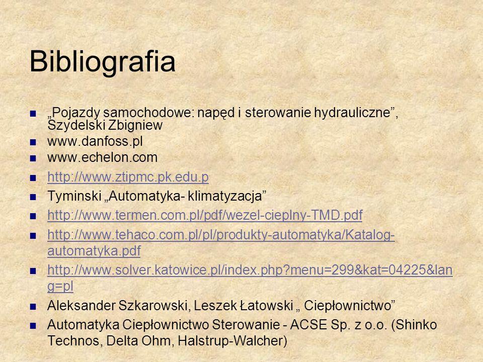 Bibliografia Pojazdy samochodowe: napęd i sterowanie hydrauliczne, Szydelski Zbigniew www.danfoss.pl www.echelon.com http://www.ztipmc.pk.edu.p Tymins