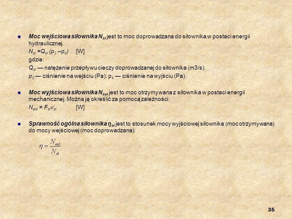 35 Moc wejściowa siłownika N sł jest to moc doprowadzana do siłownika w postaci energii hydraulicznej. N sł =Q sł (p 3 –p 4 )[W] gdzie: Q sł natężenie