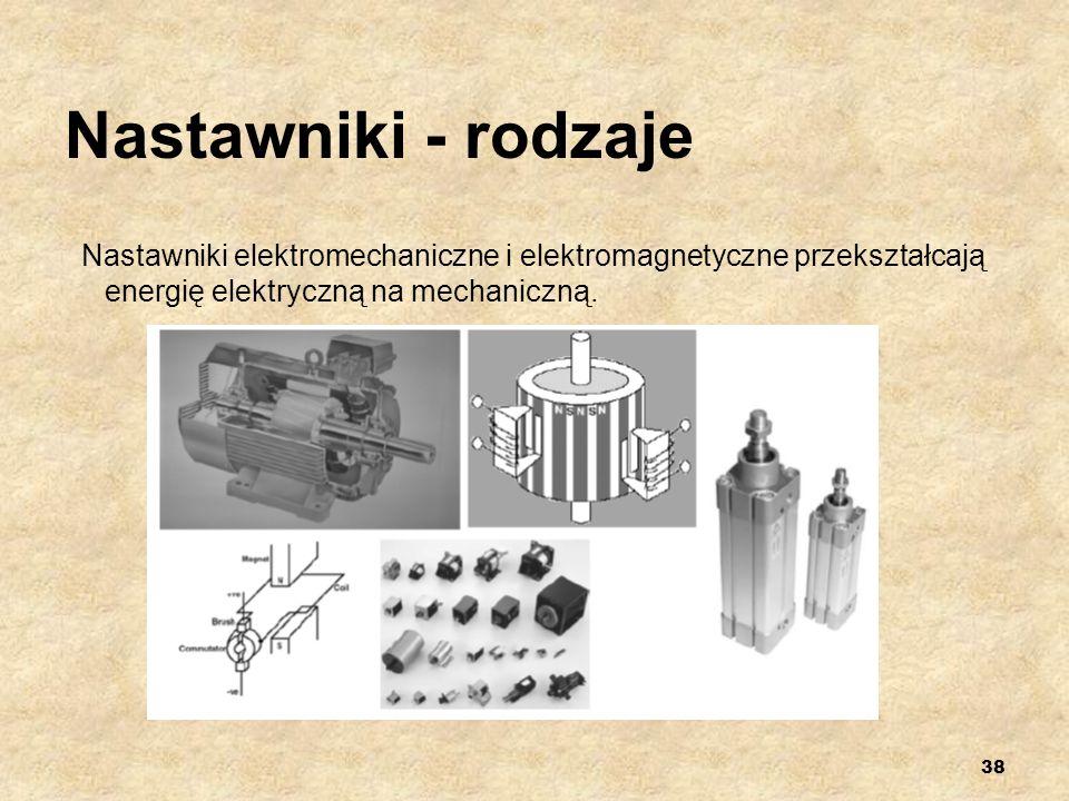 38 Nastawniki - rodzaje Nastawniki elektromechaniczne i elektromagnetyczne przekształcają energię elektryczną na mechaniczną.