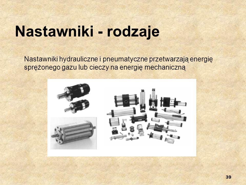 39 Nastawniki - rodzaje Nastawniki hydrauliczne i pneumatyczne przetwarzają energię sprężonego gazu lub cieczy na energię mechaniczną