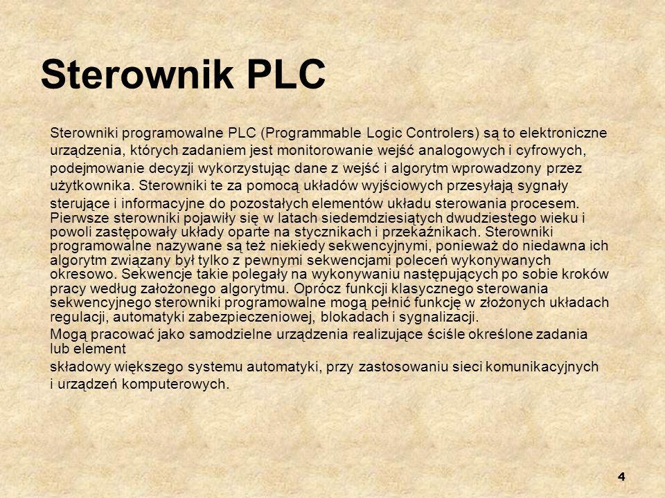 4 Sterownik PLC Sterowniki programowalne PLC (Programmable Logic Controlers) są to elektroniczne urządzenia, których zadaniem jest monitorowanie wejść