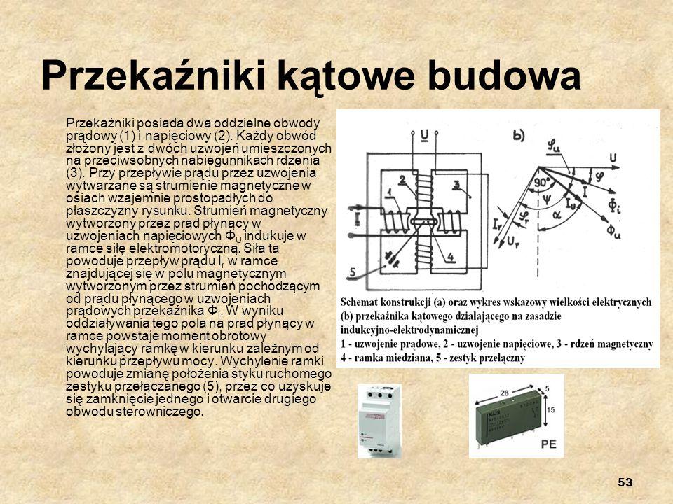 53 Przekaźniki kątowe budowa Przekaźniki posiada dwa oddzielne obwody prądowy (1) i napięciowy (2). Każdy obwód złożony jest z dwóch uzwojeń umieszczo