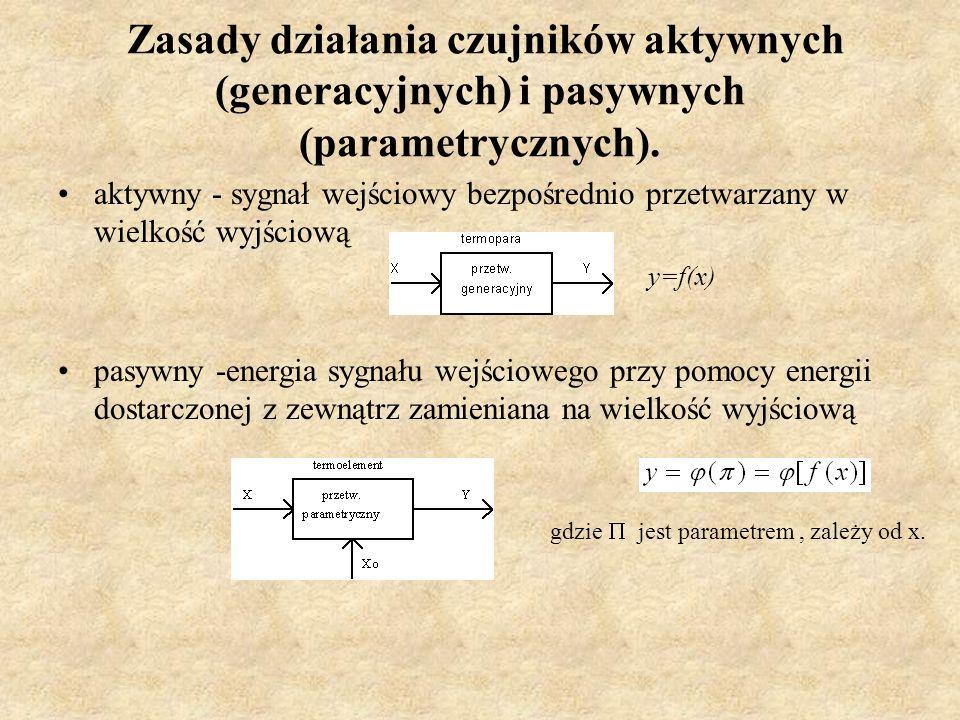 Zasady działania czujników aktywnych (generacyjnych) i pasywnych (parametrycznych). aktywny - sygnał wejściowy bezpośrednio przetwarzany w wielkość wy