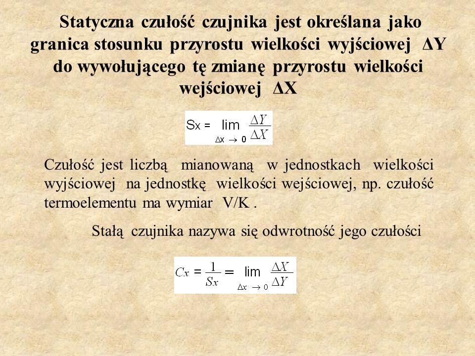 Statyczna czułość czujnika jest określana jako granica stosunku przyrostu wielkości wyjściowej ΔY do wywołującego tę zmianę przyrostu wielkości wejści