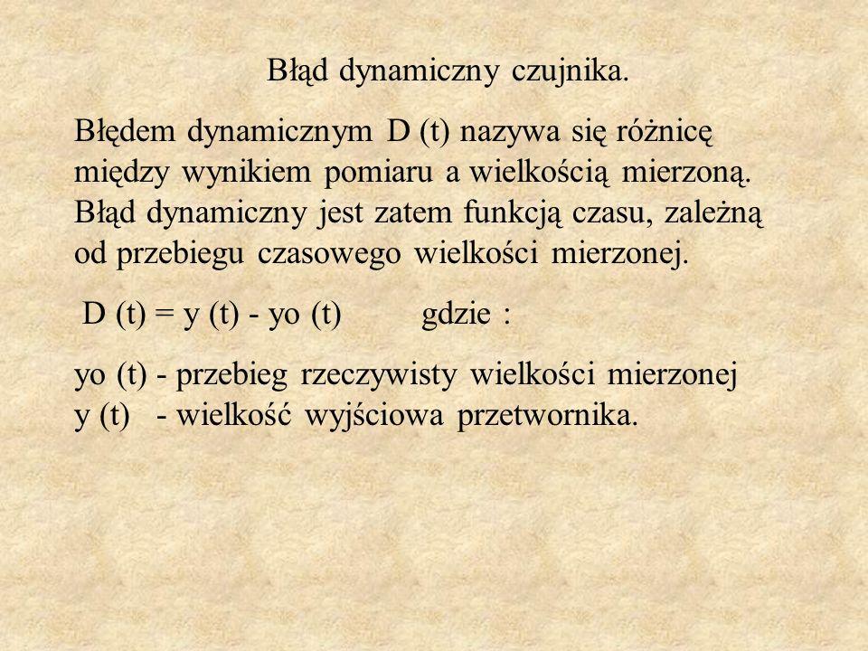 Błąd dynamiczny czujnika. Błędem dynamicznym D (t) nazywa się różnicę między wynikiem pomiaru a wielkością mierzoną. Błąd dynamiczny jest zatem funkcj