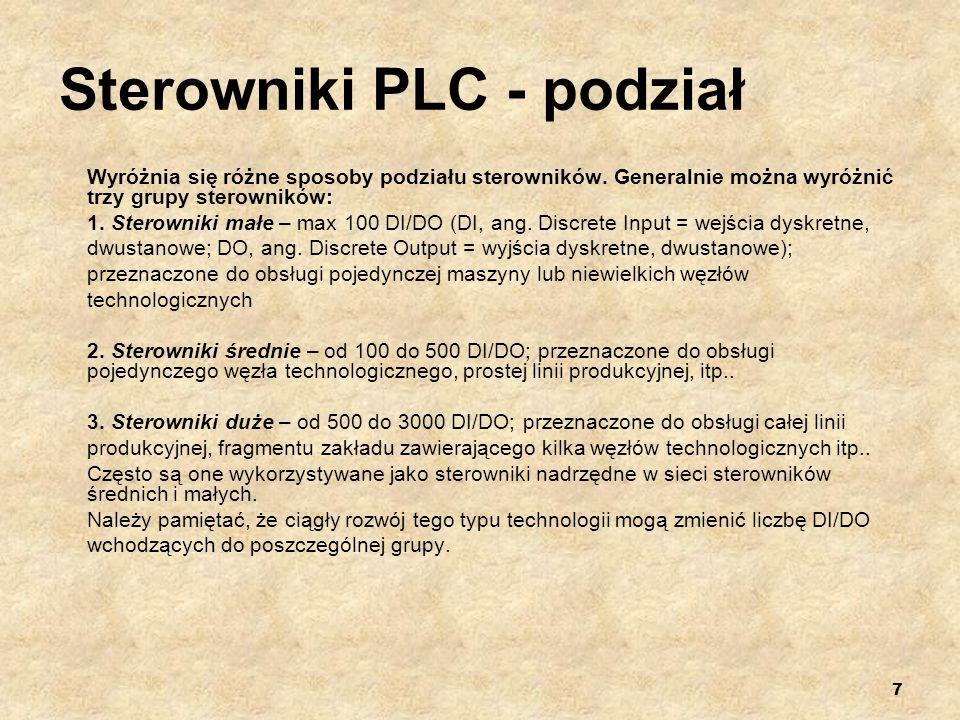 7 Sterowniki PLC - podział Wyróżnia się różne sposoby podziału sterowników. Generalnie można wyróżnić trzy grupy sterowników: 1. Sterowniki małe – max