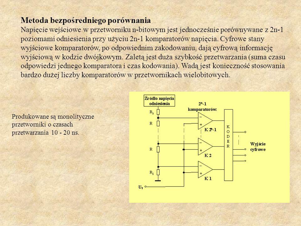 Metoda bezpośredniego porównania Napięcie wejściowe w przetworniku n-bitowym jest jednocześnie porównywane z 2n-1 poziomami odniesienia przy użyciu 2n
