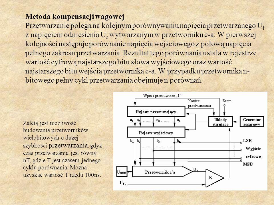Metoda kompensacji wagowej Przetwarzanie polega na kolejnym porównywaniu napięcia przetwarzanego U i z napięciem odniesienia U r wytwarzanym w przetwo
