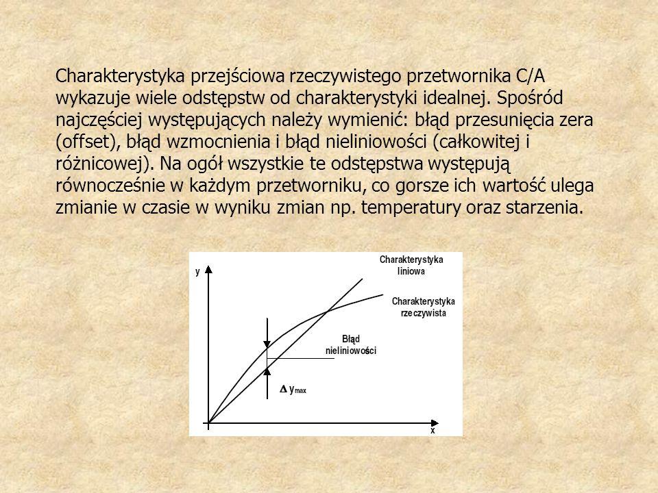 Charakterystyka przejściowa rzeczywistego przetwornika C/A wykazuje wiele odstępstw od charakterystyki idealnej. Spośród najczęściej występujących nal