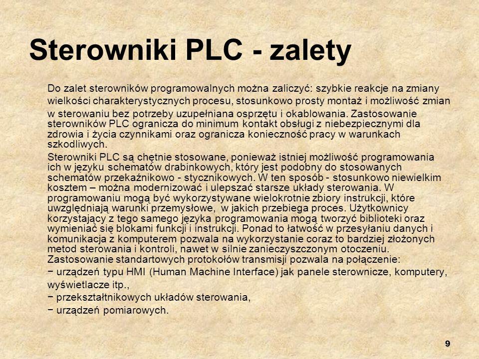 10 Sterowniki PLC – cykl PLC Sterowniki programowalne większości producentów pracują w systemie cyklicznym.
