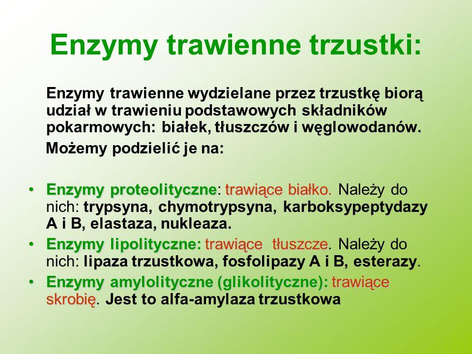 Enzymy trawienne trzustki: Enzymy trawienne wydzielane przez trzustkę biorą udział w trawieniu podstawowych składników pokarmowych: białek, tłuszczów