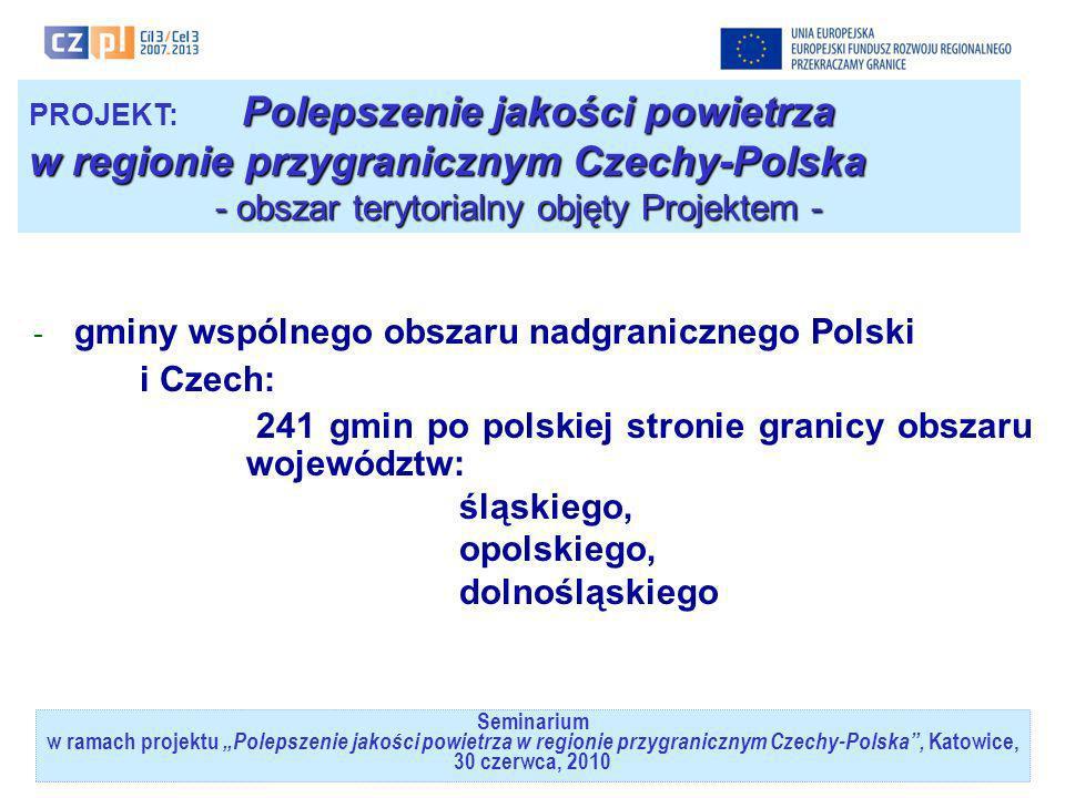 Seminarium w ramach projektuPolepszenie jakości powietrza w regionie przygranicznym Czechy-Polska, Katowice, 30 czerwca, 2010 Polepszenie jakości powi
