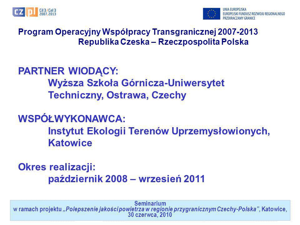 Seminarium w ramach projektuPolepszenie jakości powietrza w regionie przygranicznym Czechy-Polska, Katowice, 30 czerwca, 2010 Program Operacyjny Współ