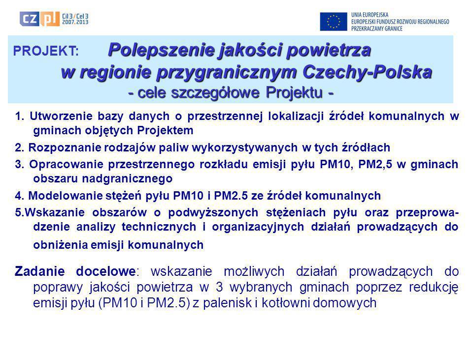 Polepszenie jakości powietrza PROJEKT: Polepszenie jakości powietrza w regionie przygranicznym Czechy-Polska - cele szczegółowe Projektu - 1. Utworzen