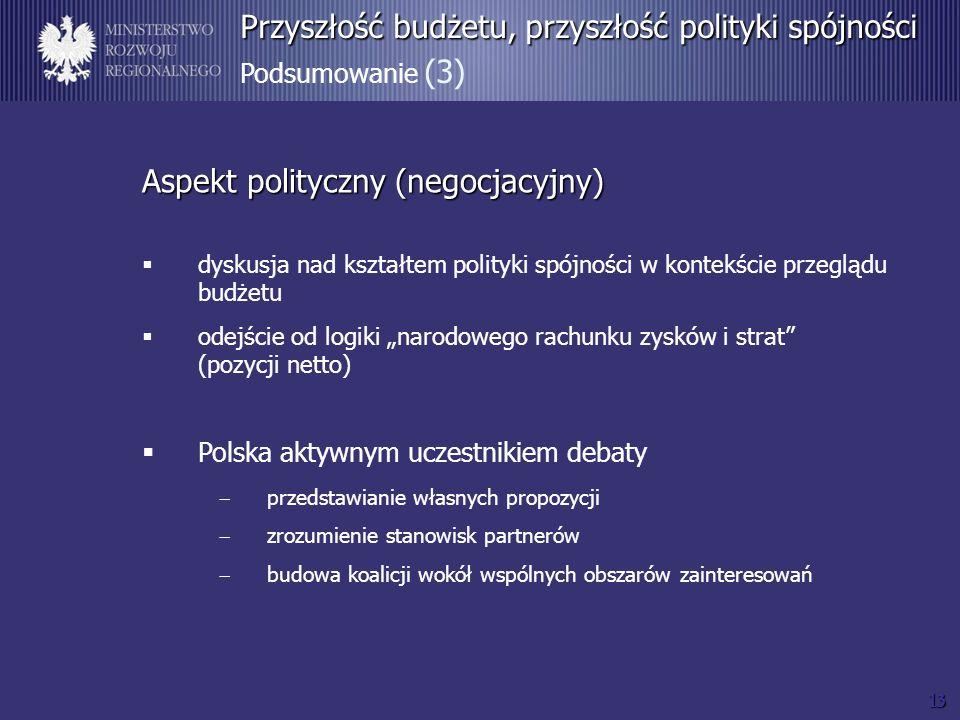 13 Przyszłość budżetu, przyszłość polityki spójności Przyszłość budżetu, przyszłość polityki spójności Podsumowanie (3) Aspekt polityczny (negocjacyjny) dyskusja nad kształtem polityki spójności w kontekście przeglądu budżetu odejście od logiki narodowego rachunku zysków i strat (pozycji netto) Polska aktywnym uczestnikiem debaty przedstawianie własnych propozycji zrozumienie stanowisk partnerów budowa koalicji wokół wspólnych obszarów zainteresowań