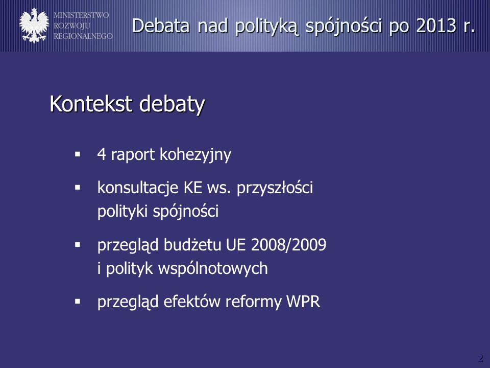2 Debata nad polityką spójności po 2013 r. Kontekst debaty 4 raport kohezyjny konsultacje KE ws.