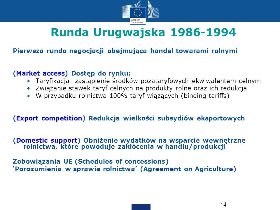 14 Runda Urugwajska 1986-1994 Pierwsza runda negocjacji obejmująca handel towarami rolnymi (Market access) Dostęp do rynku: Taryfikacja- zastąpienie ś