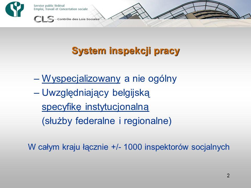 2 –Wyspecjalizowany a nie ogólny –Uwzględniający belgijską specyfikę instytucjonalną (służby federalne i regionalne) W całym kraju łącznie +/- 1000 in