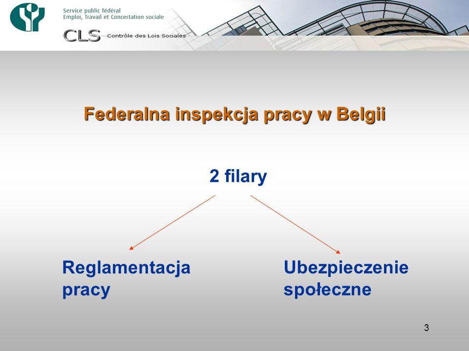 3 Federalna inspekcja pracy w Belgii 2 filary Reglamentacja pracy Ubezpieczenie społeczne