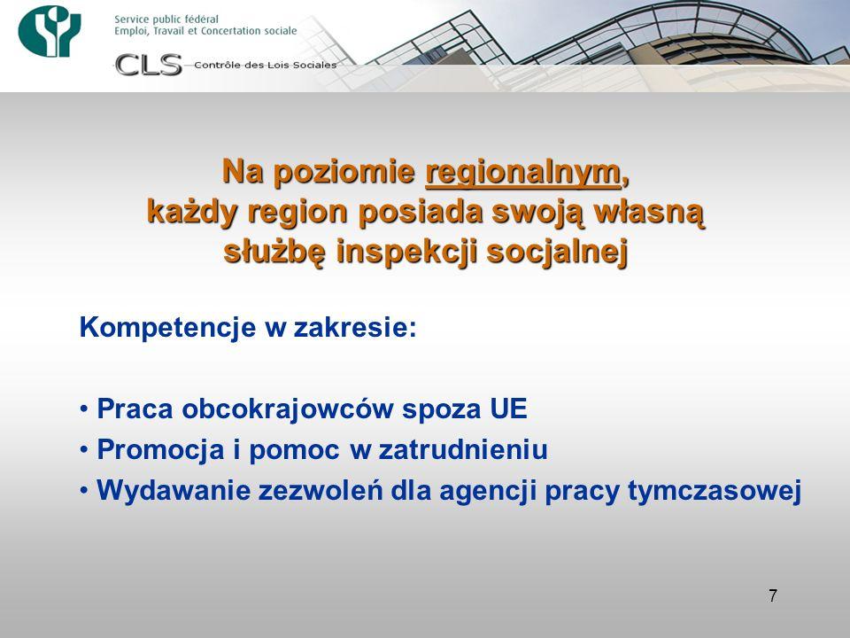 7 Na poziomie regionalnym, każdy region posiada swoją własną służbę inspekcji socjalnej Kompetencje w zakresie: Praca obcokrajowców spoza UE Promocja